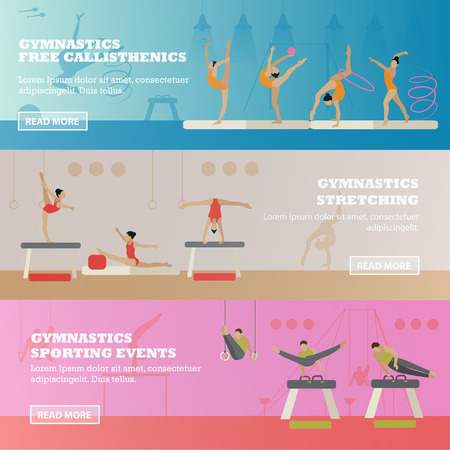 rhythmic gymnastic: Gymnastic sport competition arena banner. Vector illustration. Sportsman flat icons. Artistic and rhythmic gymnast exercise. Illustration