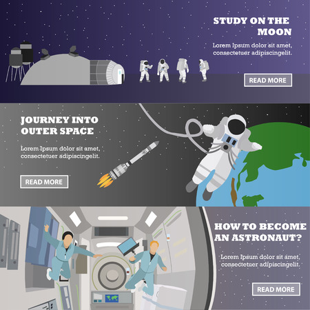 Space mission concept vector banners. Astronauts in space station and outer space. Cosmonauts flying in no gravity.