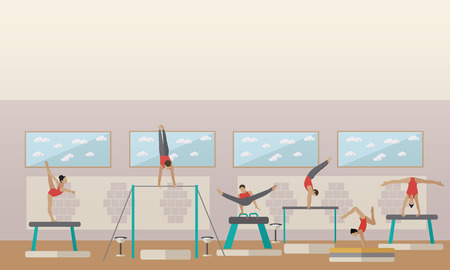 rhythmic gymnastic: Gymnastic sport competition arena interior vector illustration. Sportsman flat icons. Artistic and rhythmic gymnast exercise. Illustration
