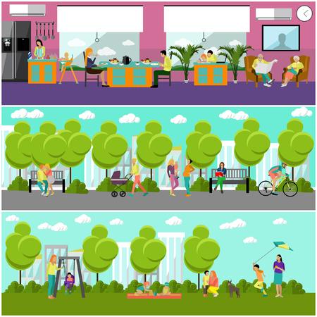 family park: Family at home and in park concept banner. People spending time with kids and friends in park or at home. Vector illustration in flat style design. Illustration