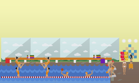 swimming race: Horizontal vector banner with swimming pool interior. Water sport concept. People training and exercising. Flat cartoon illustration.