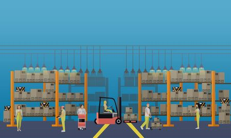 warehouse interior: Logistic and delivery service concept banner. Warehouse interior. Vector illustration in flat style design.