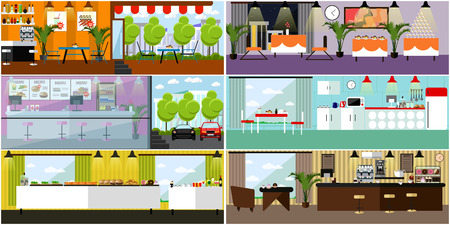dining room: Vector banner with restaurant interiors. Kitchen, dining room, cafe, fast food. Vector illustration in flat design.