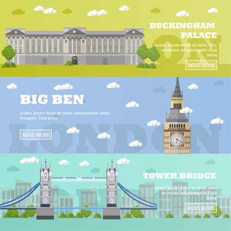 london tower bridge: London tourist landmark banners. Vector illustration with London famous buildings. Tower bridge, Big Ben and Buckingham Palace.