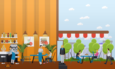 interiors: Vector set of banners with restaurant interiors. Bar and street cafe in flat design.