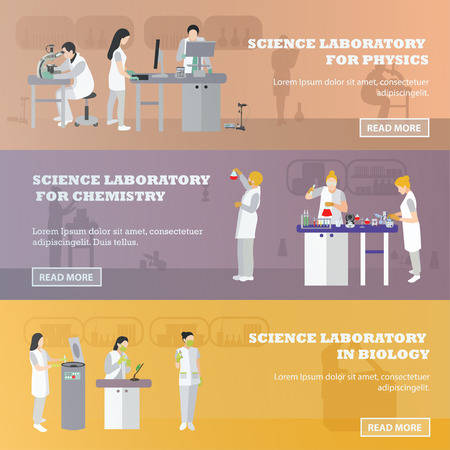 service desk: Vector set of medical laboratory banners. Illustration in flat style design. Doctors and scientist working in lab.