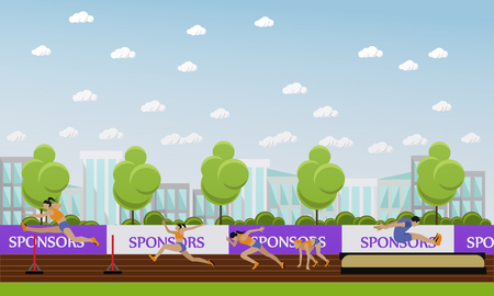 venue: Sport of athletics concept vector illustration. Track and field competition games. Sportsman running, jumping and throwing. Sport venue stadium interior.