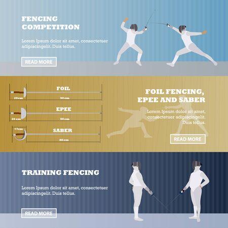 swordsman: Vector set of sport fencing banners. Fencing competition concept. Illustration