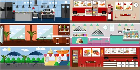 interiors: Vector banner with restaurant interiors. Kitchen, dining room, street cafe and fast food restaurant. Illustration in flat design.