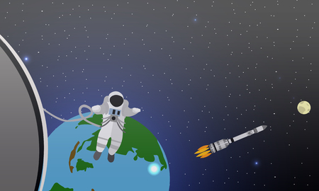 to gravity: Space mission concept vector illustration. Astronauts in space station and outer space. Cosmonauts flying in no gravity space. Rocket launch.