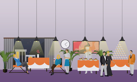 dinner party: Vector banner with restaurant interior. People having dinner in cafe. Party concept.
