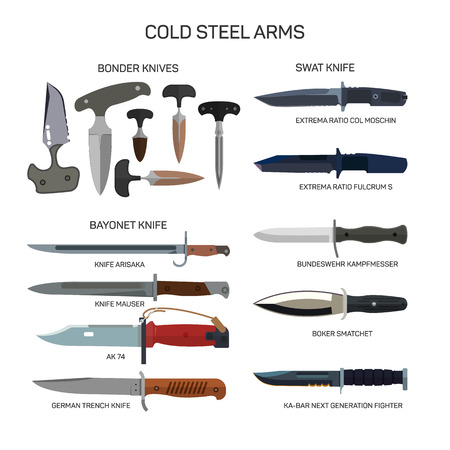 cold steel: Vector set of combat knifes icons isolated on white background. Bonder knives, bayonet knife, swat knifes. Cold steel arms.