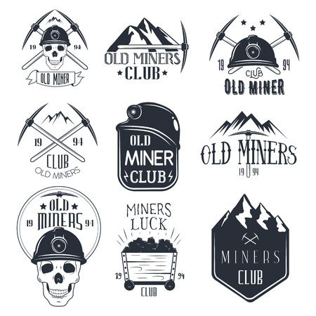 Vector set of mining labels in vintage style. Design elements, icons, logo, emblems and badges isolated on white background. Gold miners club. Vettoriali
