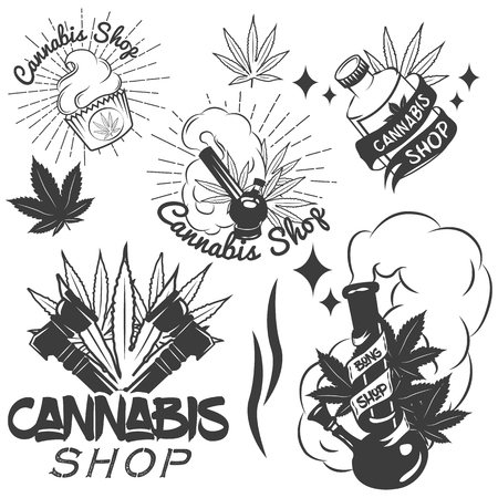 weeds: Vector set of medical marijuana labels in vintage style. Cannabis emblems, badges and logos for shop design. Weed leafs, bong. Illustration