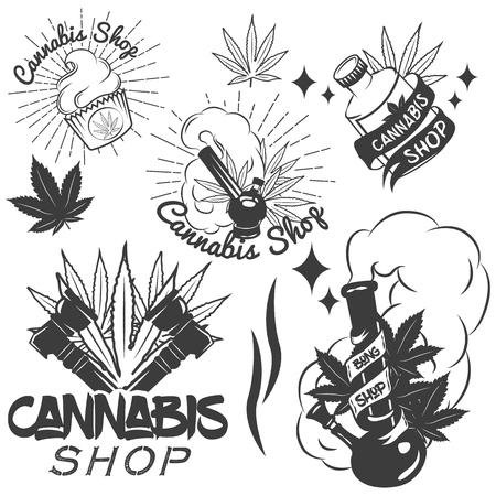 bong: Vector set of medical marijuana labels in vintage style. Cannabis emblems, badges and logos for shop design. Weed leafs, bong. Illustration