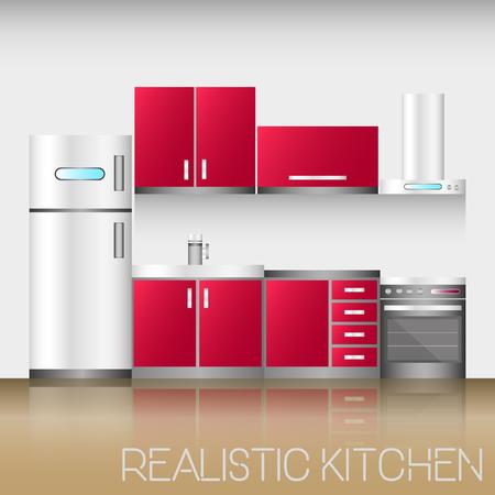 modern kitchen: Kitchen interior with furniture in realistic style. Modern vector illustration. Illustration