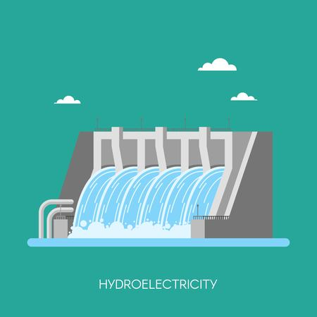 Hydro power plant and factory. Hydro energy industrial concept. Vector illustration in flat style. Hydroelectric station background. Renewable energy sources.