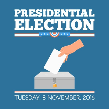 nomination: USA presidential election day concept vector illustration. Hand putting voting paper in the ballot box. Voting concept in flat style. Illustration