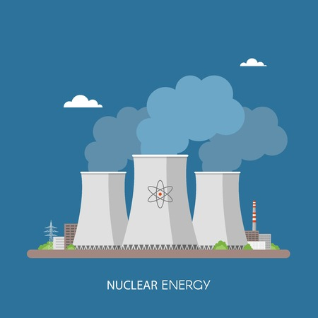 powerhouse: Nuclear power plant and factory. Nuclear energy industrial concept. Vector illustration in flat style. Nuclear station background. Illustration