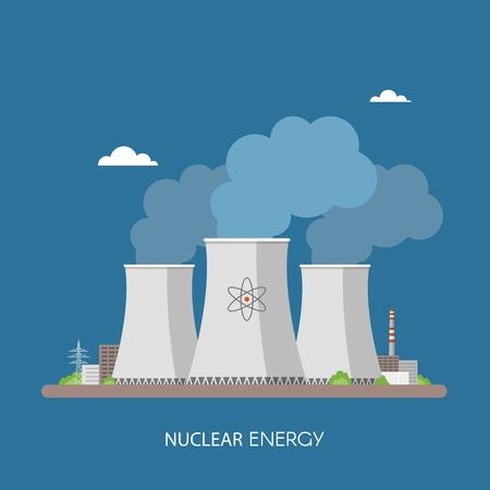 Centrale nucleare e la fabbrica. L'energia nucleare concetto industriale. Illustrazione vettoriale in stile piatto. Stazione sfondo nucleare.