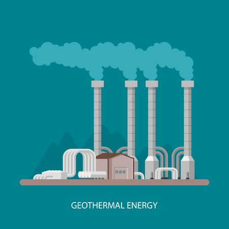 Geothermische energiecentrale en de fabriek. Geothermische energie industrieel concept. Vector illustratie in vlakke stijl. Geothermische station achtergrond. Hernieuwbare energiebronnen. Stock Illustratie