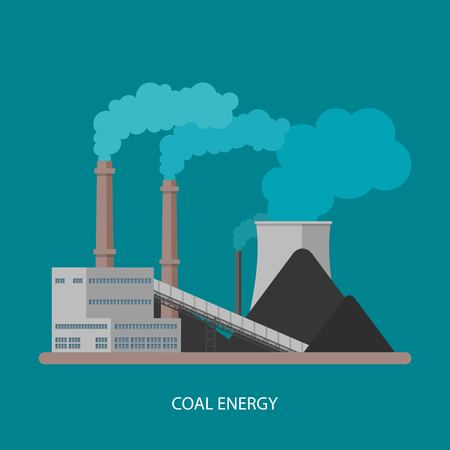 coal power station: Coal power plant and factory. Energy industrial concept. Vector illustration in flat style. Coal power station background.