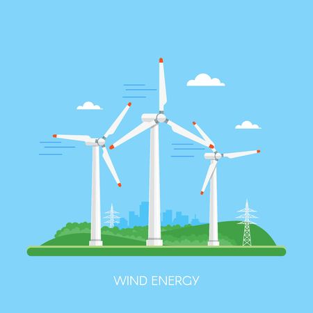 green power: Wind power plant and factory. Wind turbines. Green energy industrial concept. Vector illustration in flat style. Wind power station background. Renewable energy sources.
