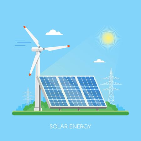 Solar power plant and factory. Solar panels. Green energy industrial concept. Vector illustration in flat style. Solar station background. Renewable energy sources.