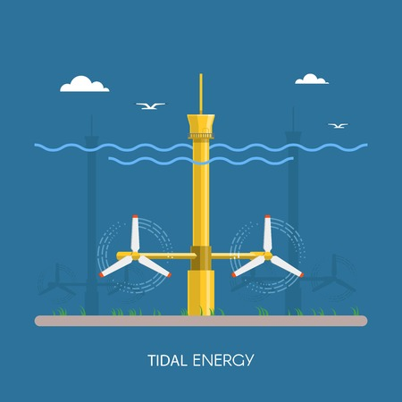 Tidal power plant and factory. Tidal turbines. Green energy industrial concept. Vector illustration in flat style. Tidal power station background. Renewable energy sources. 向量圖像