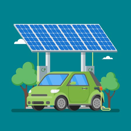 panels: Electric car charging at the charger station in front of the solar panels. Vector illustration in flat style. Eco transport concept background. Illustration
