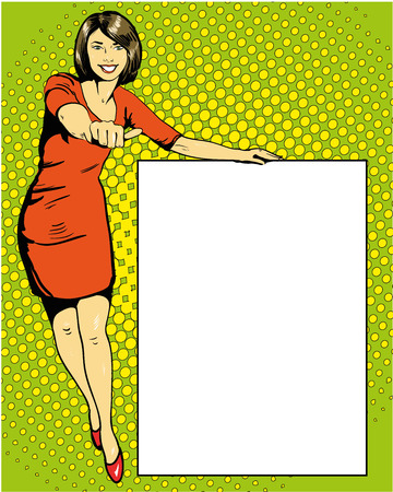 stays: Woman stays next to blank white board. Pop art comics retro style vector illustration.