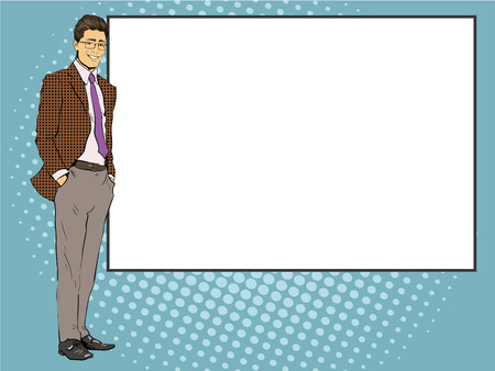 stays: Businessman stays next to blank white board. Pop art comics retro style vector illustration. Put your own text.