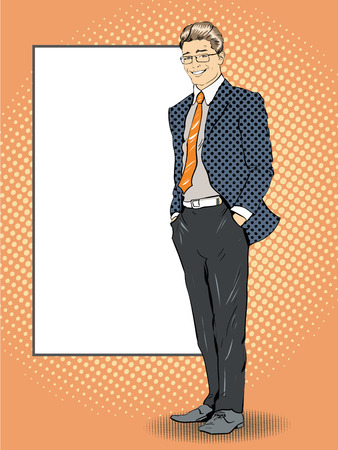 Businessman stays next to blank white board. Pop art comics retro style vector illustration. Put your own text.
