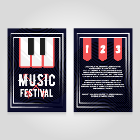 flier: Music festival brochure flier design template. concert poster illustration. Leaflet cover layout in A4 size.