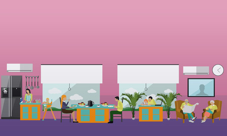 recreation rooms: Family at home. People having dinner at home. illustration in flat style design. Illustration