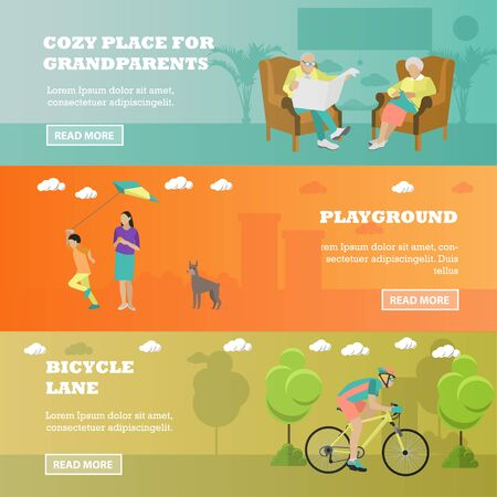 spend: Family concept . Seniors sitting in chairs, mother spend time with kid, rider on bicycle in park. illustration in flat style design.
