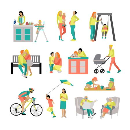 family park: set of people in situations at home and in park. illustration in flat style, icons isolated on white background. Family members spending time together. Stock Photo