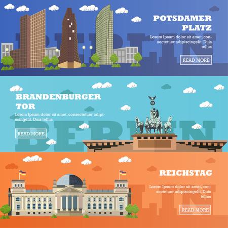 brandenburg: Berlin tourist landmark banners.illustration with German famous buildings. Potsdamer Platz, Brandenburg Gate, Reichstag building.
