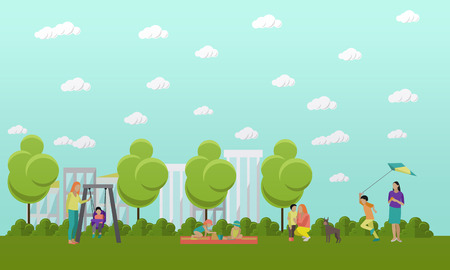 family playing: Family in park concept . People spending time with kids and friends in park. illustration in flat style design. Stock Photo