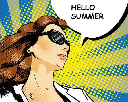 retro backgrounds: Woman in sunglasses with arrow graph. illustration in comics retro pop art style.