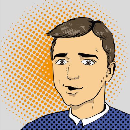 lichtenstein: Man in comics retro pop art style illustration.