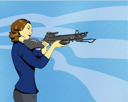 arbalest: Woman with arbalest illustration in comics retro pop art style. Stock Photo