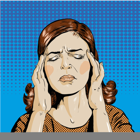 Woman in stress has headache illustration in pop art retro comic style. Thinking woman.