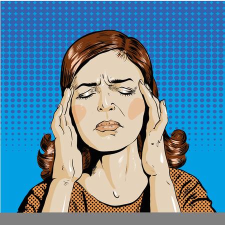 Vrouw in spanning heeft hoofdpijn illustratie in pop art retro grappige stijl. Denken vrouw. Vector Illustratie