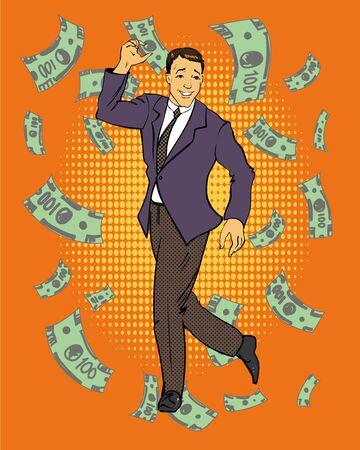 money flying: Baile del hombre con el dinero volando alrededor de la ilustración en el estilo del arte pop cómico retro. Concepto de negocio y el éxito financiero.