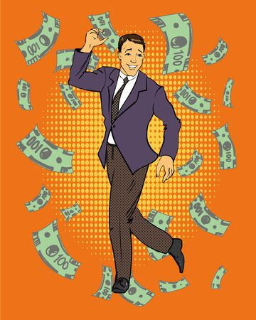 money flying: Man dancing with money flying around illustration in retro comic pop art style. Business and financial success concept. Illustration