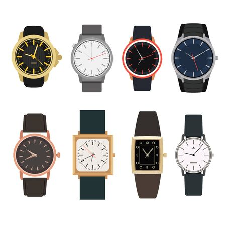chronograph: Set of watches in classic design. Vector illustration. Man gold watches isolated on white background. Illustration