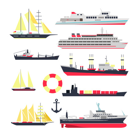 yacht isolated: Vector set of sea ships, boats and yacht isolated on white background. Marine transport design elements and icons in flat style. Ocean travel concept.