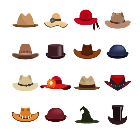 derby hats: Vector set of man and woman hats. Illustration with different types of hats, cowboy hat, magic hat.
