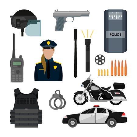 flak: Vector set of police objects and equipment isolated on white background. Police car, policeman, bike, pistol, weapon. Design items and icons.